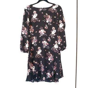 Loft Black Floral Long Sleeve Peplum Dress
